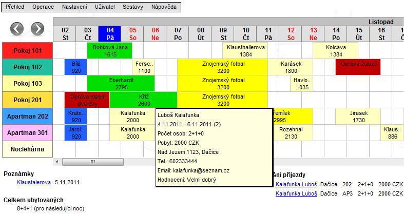 Štafle online, rezervační systém pro hotely a penziony